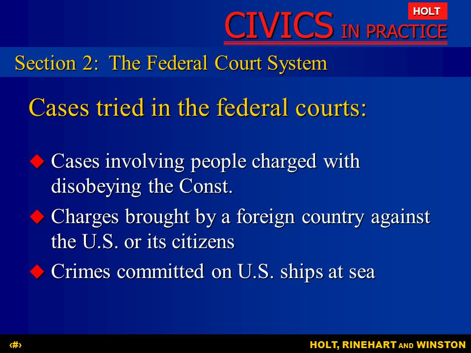 Cases tried in the federal courts:
