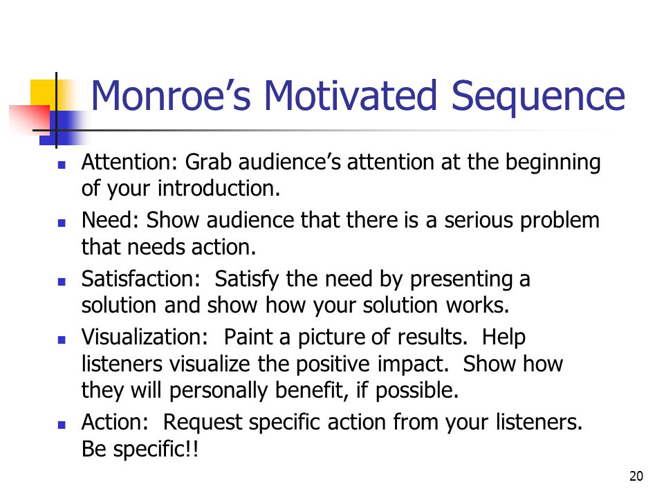 monroe's motivated sequence speech Preparation outline for motivated sequence pattern motivational speech you will be motivating your audience to an immediate action take a good look at this.