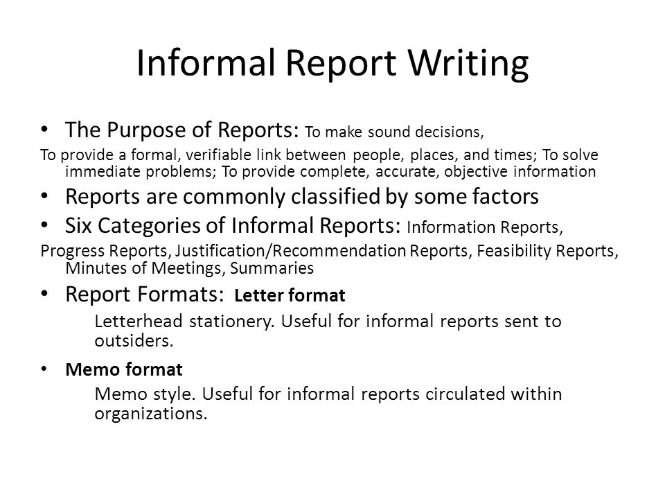 business communication informal report p1