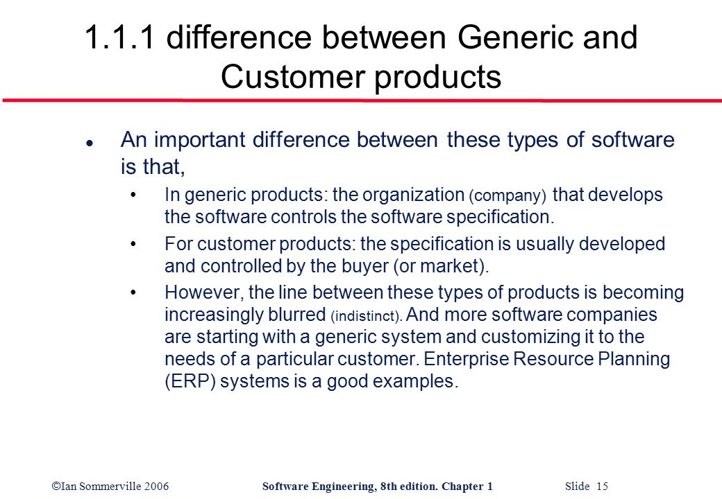 examples of generic products in software engineering cots software