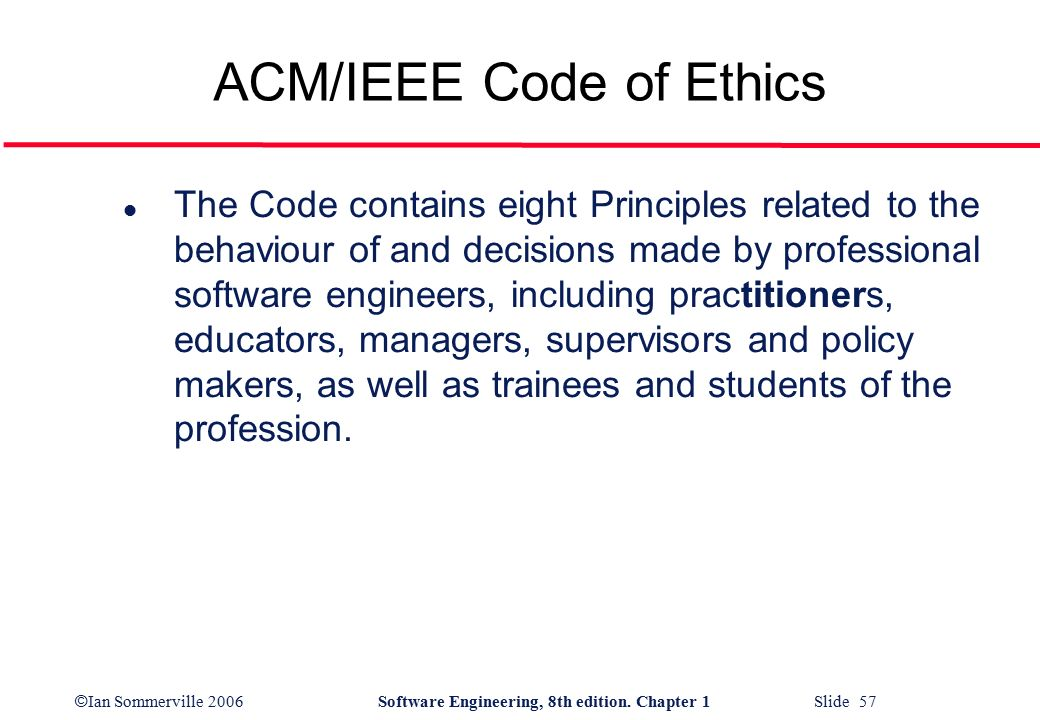 acm code of ethics Abstract one of the most widely recognized code of ethics in information technology (it) is the acm (association for computing machinery) code of ethics adopted in.