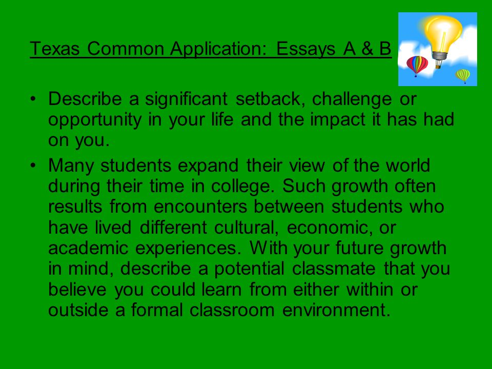 Apply Texas College Essay Prompts for Class of 2019