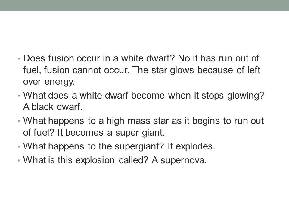 Does fusion occur in a white dwarf