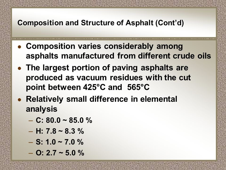 Composition and Structure of Asphalt (Cont'd)