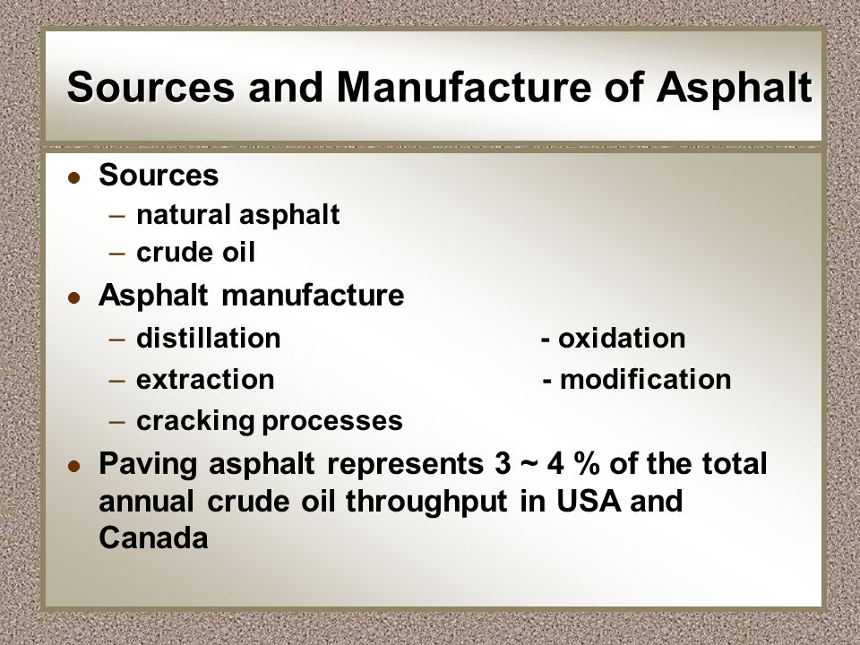 Sources and Manufacture of Asphalt