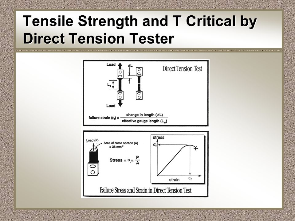 Tensile Strength and T Critical by Direct Tension Tester