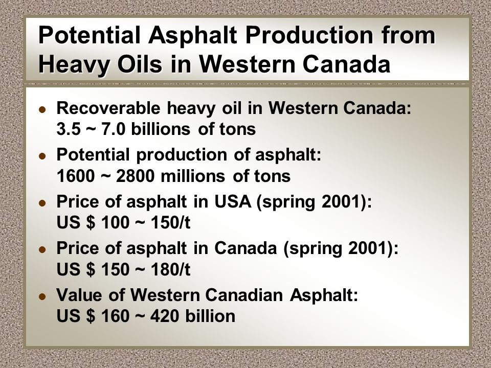 Potential Asphalt Production from Heavy Oils in Western Canada