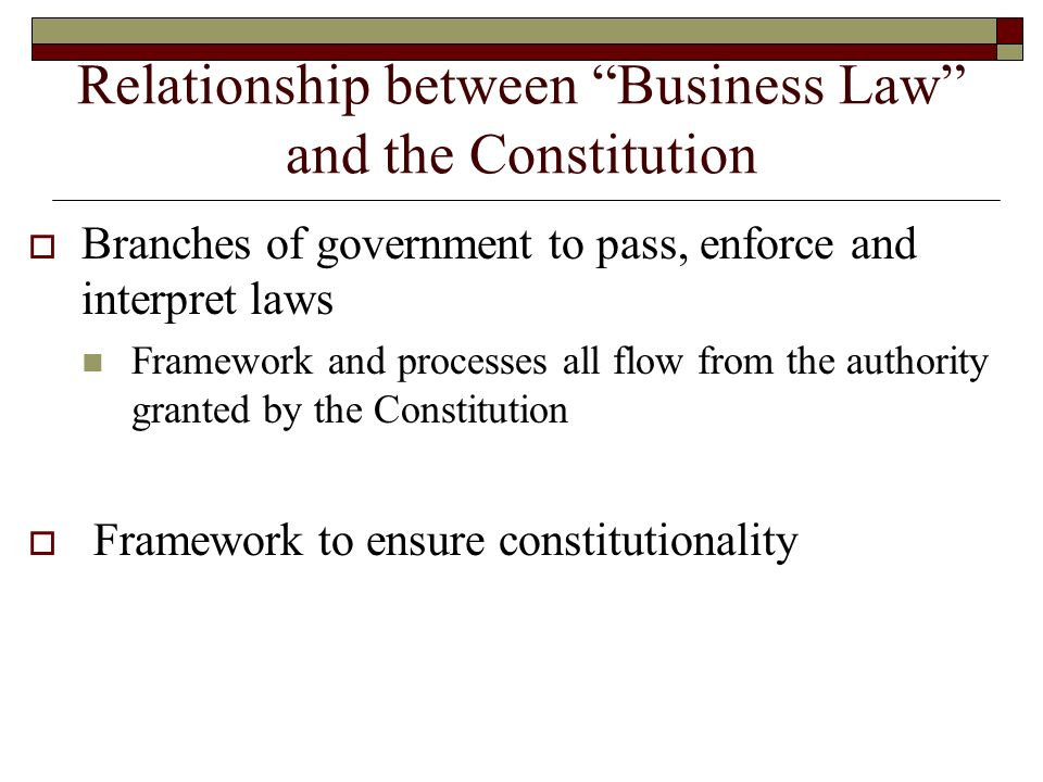 Relationship between Business Law and the Constitution