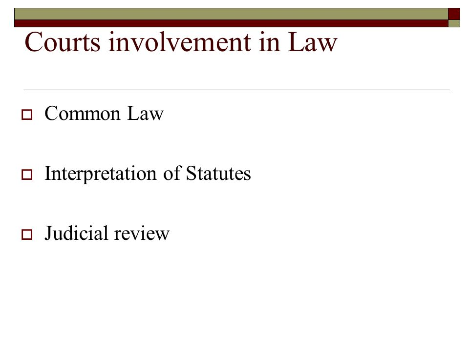 Courts involvement in Law