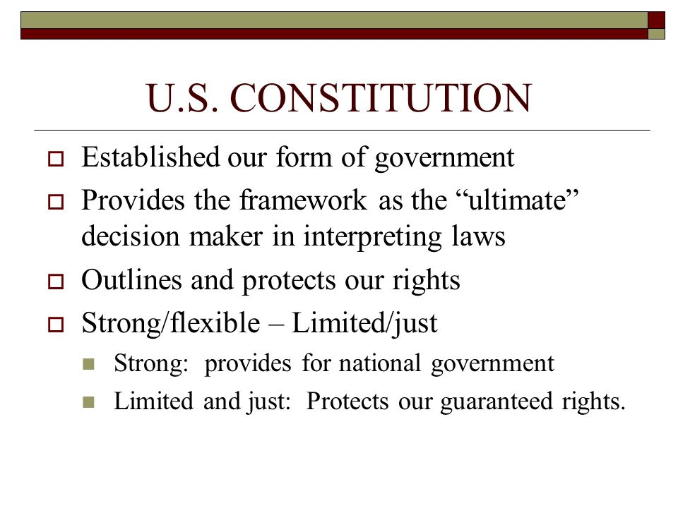 U.S. CONSTITUTION Established our form of government