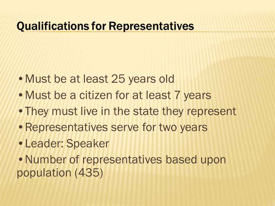Qualifications for Representatives