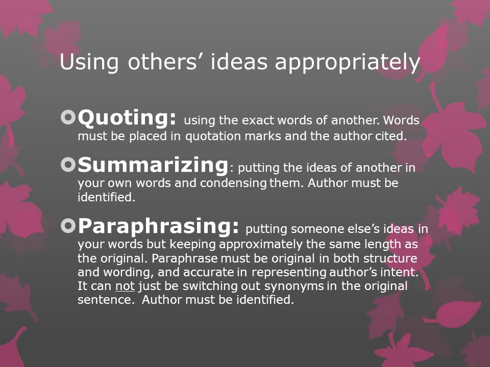 Using others' ideas appropriately