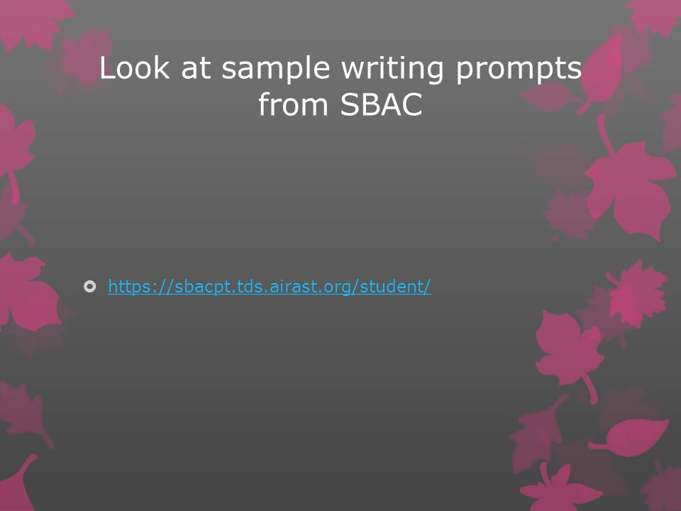 Look at sample writing prompts from SBAC