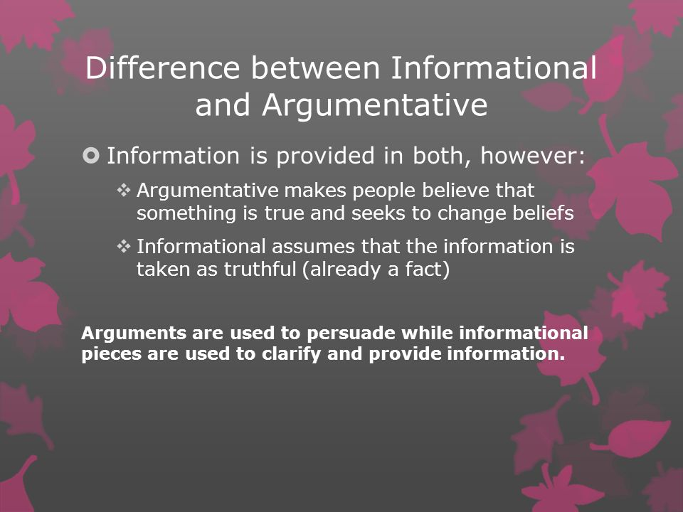 Difference between Informational and Argumentative