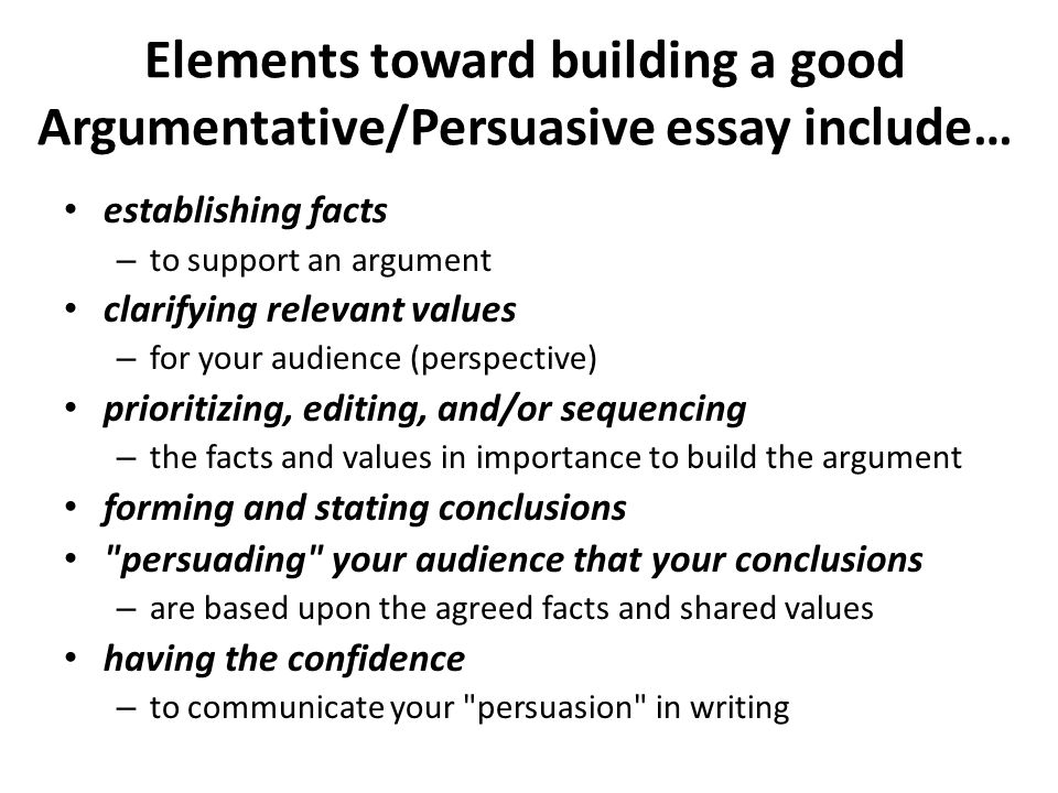 argumentative persuasive essay ppt  elements toward building a good argumentative persuasive essay include