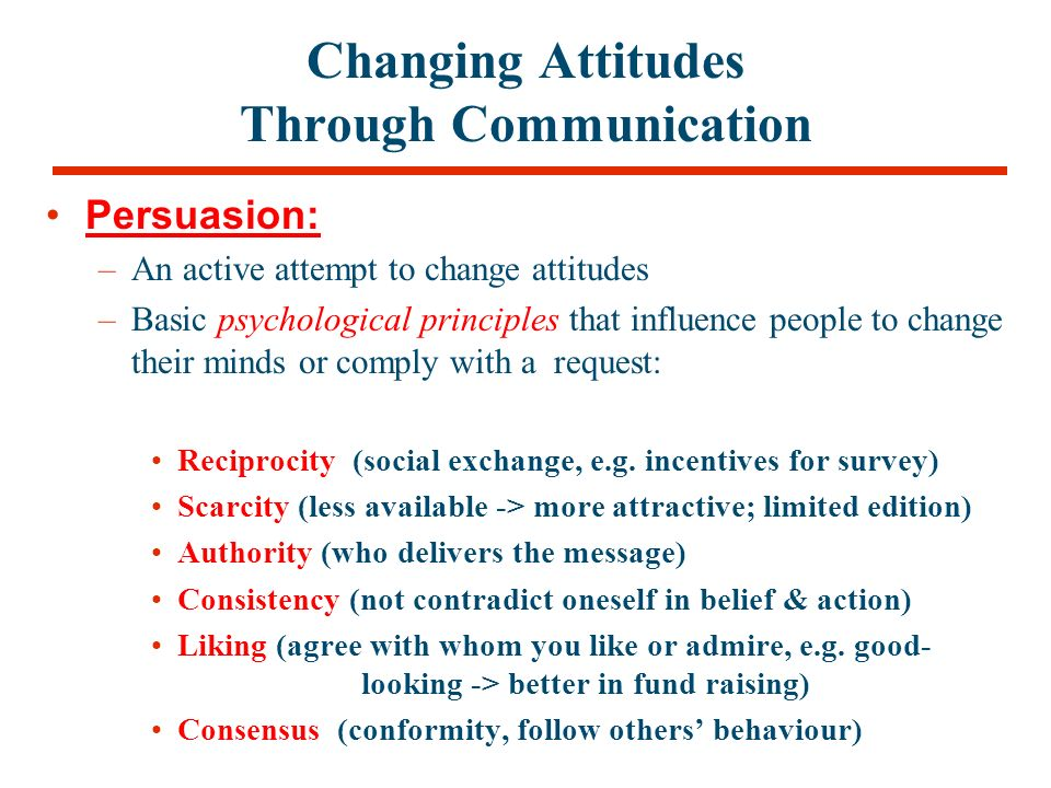 change through persuasion Changing attitudes through persuasion outline how persuasion is determined by the choice of effective communicators and effective messages review the conditions.