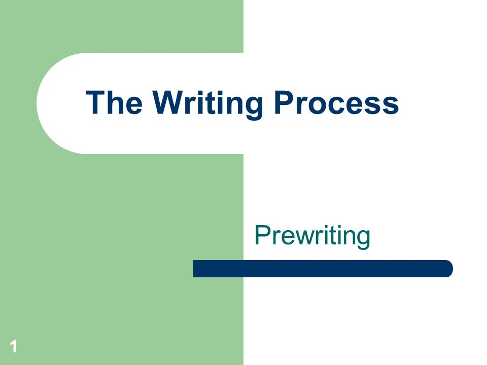 The writing process prewriting