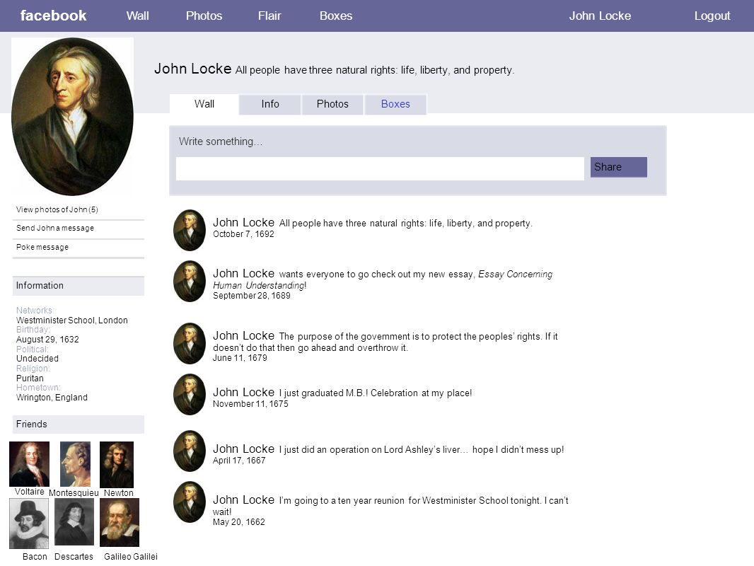 Facebook Wall Photos Flair Boxes Logout John Locke John Locke