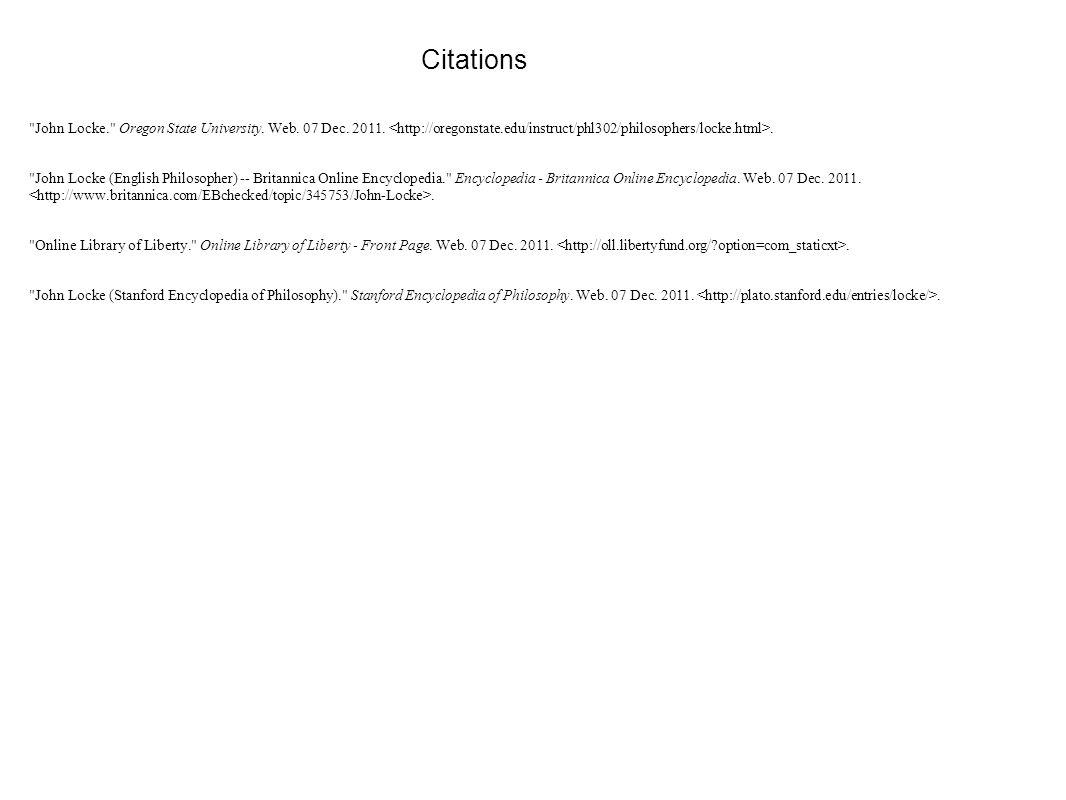 Citations John Locke Oregon State University Web 07 Dec 2011 <
