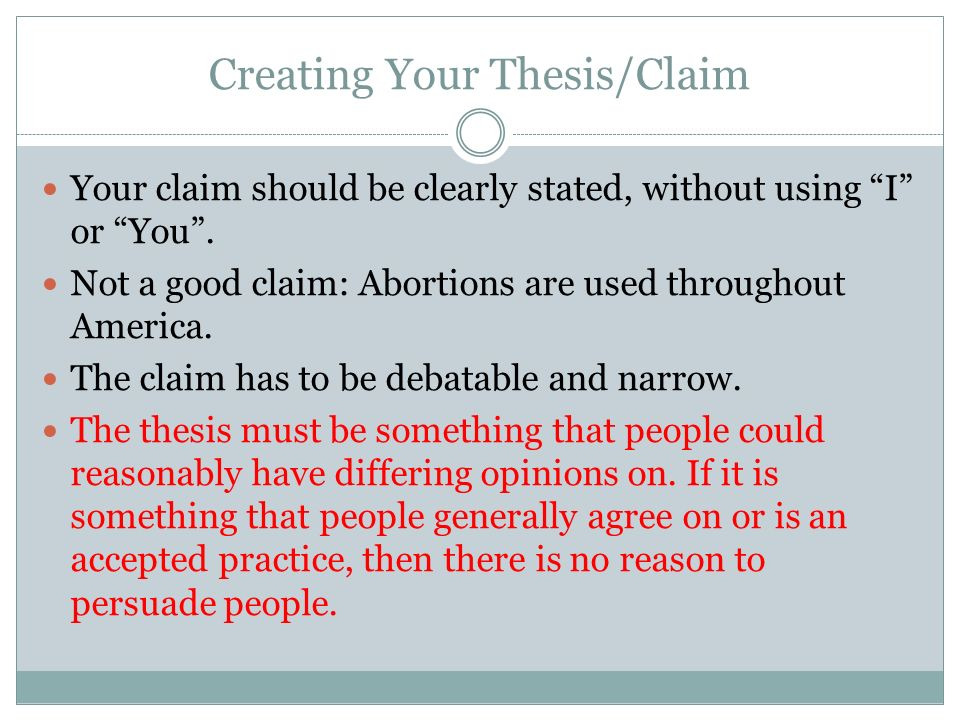 thesis claim and reason