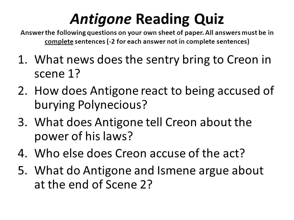 Antigone – discussion questions