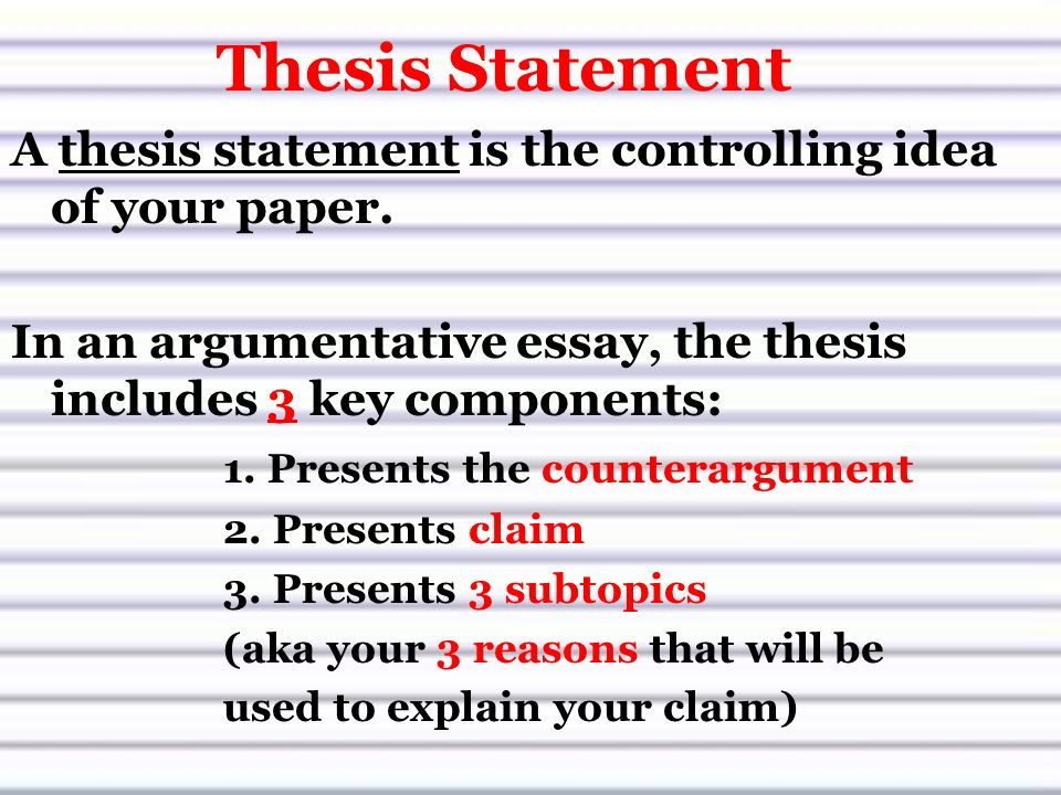 thesis component The thesis essentially serves as a mini outline for the paper we'll move on to the next essential component how to write a thesis statement step #4:.