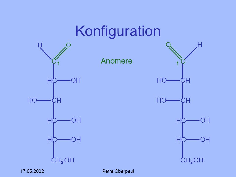 Konfiguration 1 Anomere 1 C HC CH CH2 OH H O OH HO C CH HC CH2 OH O HO