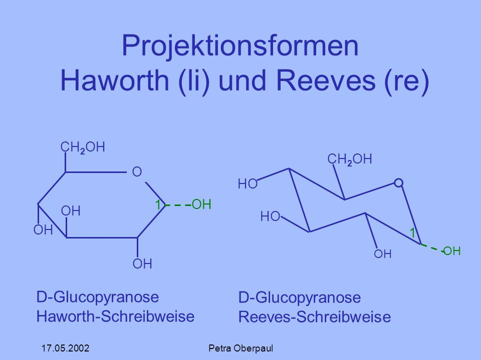 Projektionsformen Haworth (li) und Reeves (re)