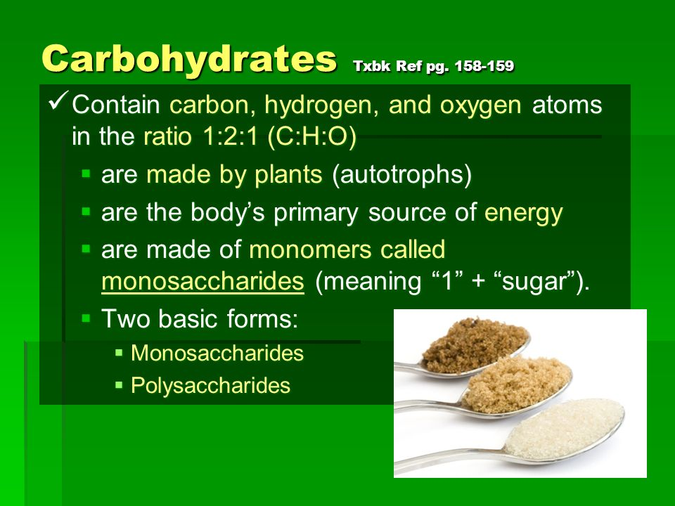 Carbohydrates Txbk Ref pg