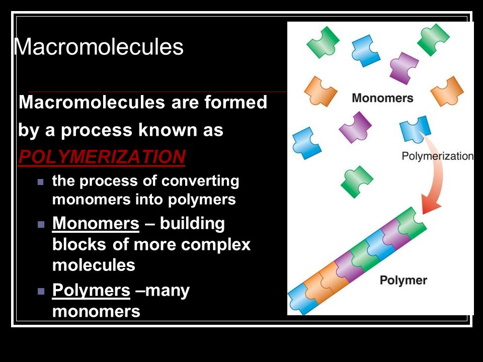 Macromolecules Macromolecules are formed by a process known as