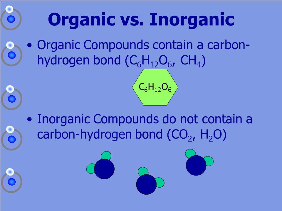 Organic vs. Inorganic Organic Compounds contain a carbon-hydrogen bond (C6H12O6, CH4) C6H12O6.