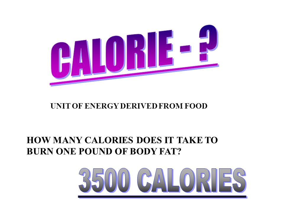 CALORIE - UNIT OF ENERGY DERIVED FROM FOOD. HOW MANY CALORIES DOES IT TAKE TO BURN ONE POUND OF BODY FAT