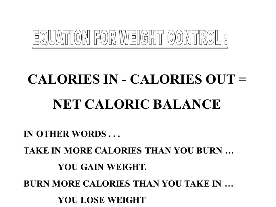 CALORIES IN - CALORIES OUT =