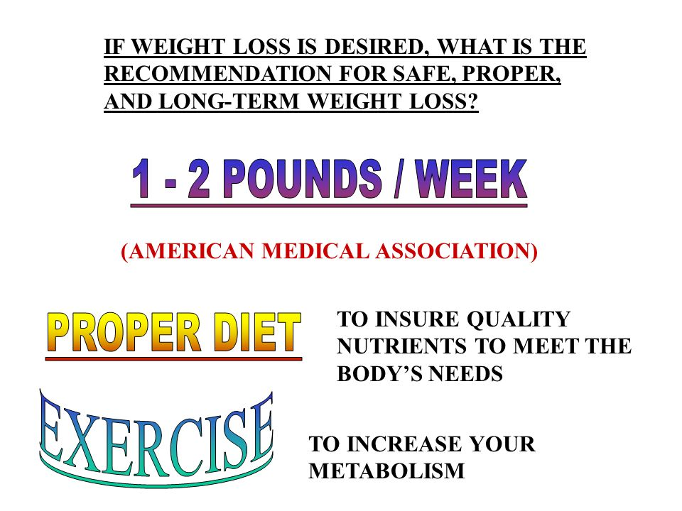 1 - 2 POUNDS / WEEK PROPER DIET EXERCISE