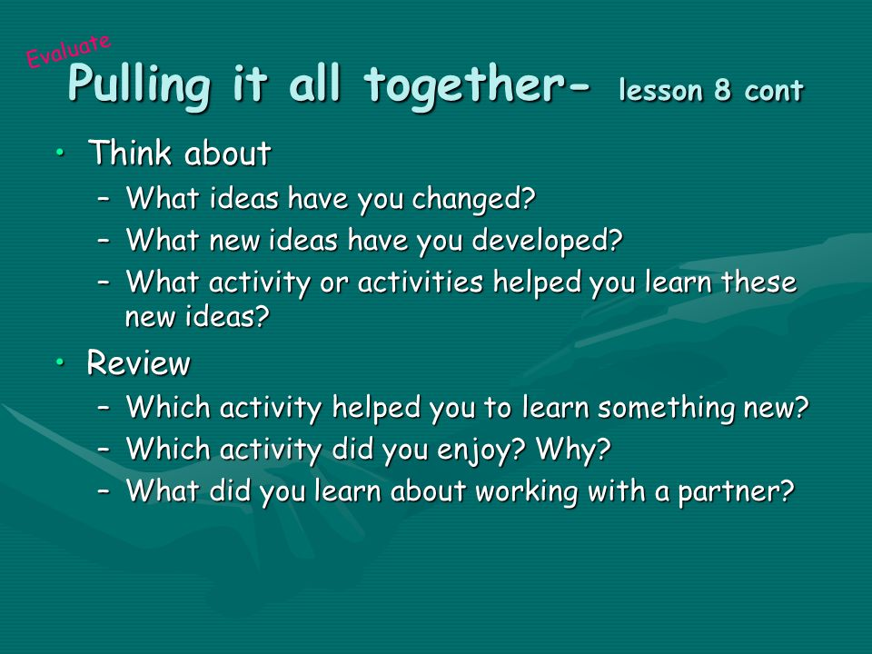 how to create activites for pulling it together