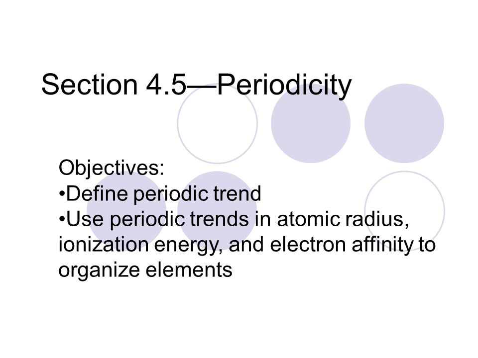 Section 4.5—Periodicity Objectives: Define periodic trend