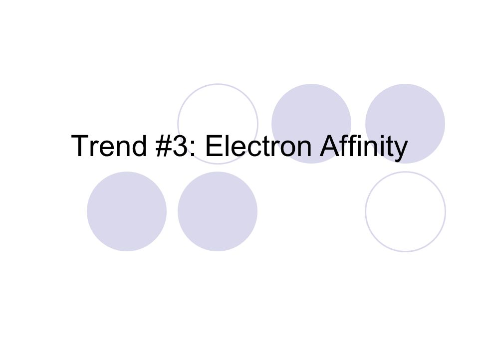 Trend #3: Electron Affinity