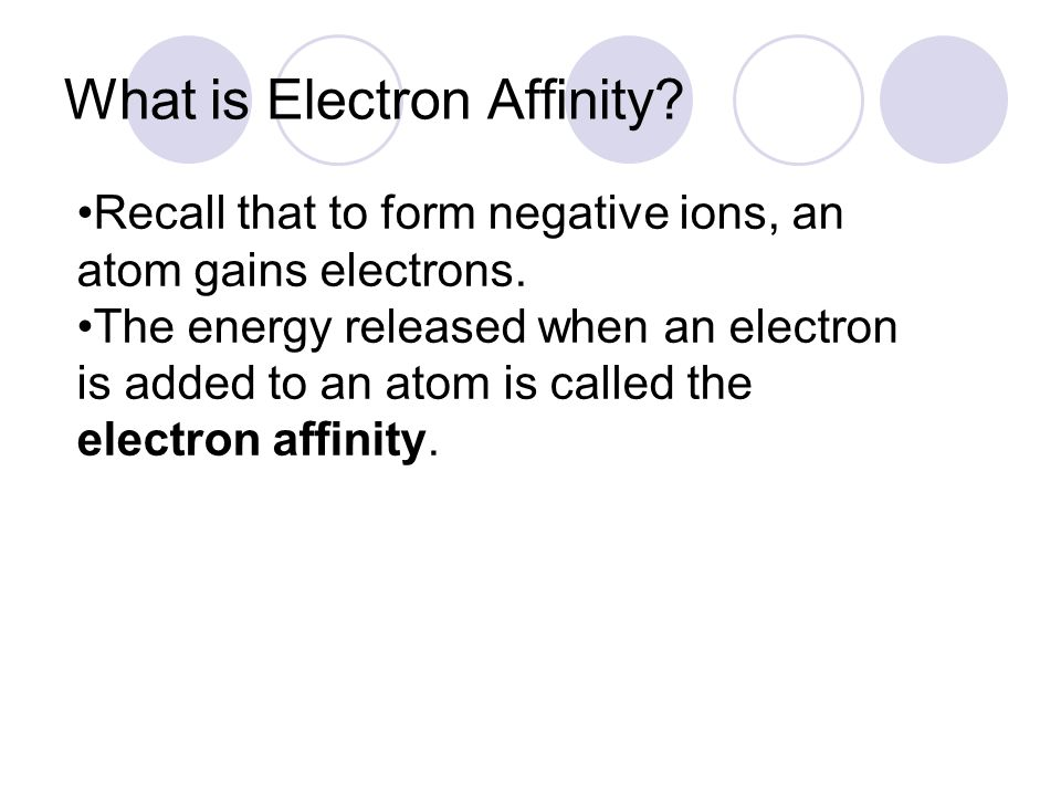 What is Electron Affinity
