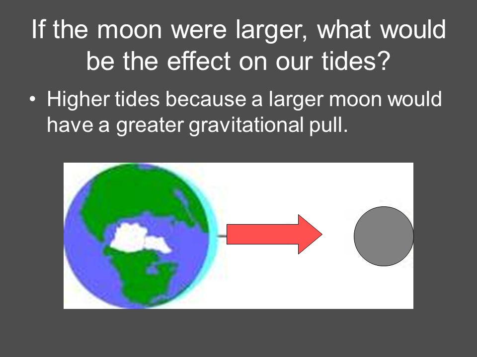 If the moon were larger, what would be the effect on our tides