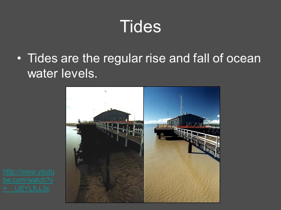 Tides Tides are the regular rise and fall of ocean water levels.