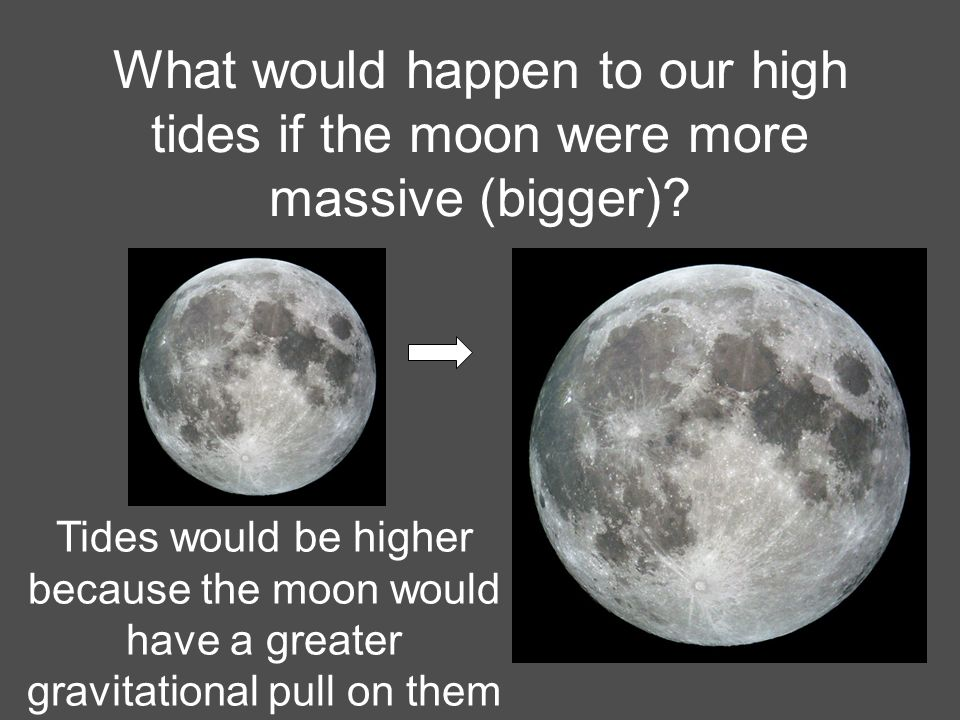 What would happen to our high tides if the moon were more massive (bigger)