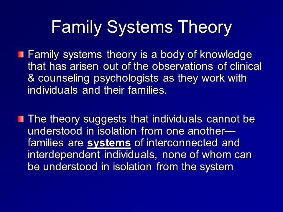 family system theory 2 essay The ecological systems theory developed by urie bronfenbrenner explains the role of our different  these systems include the micro system,  your family, friends.