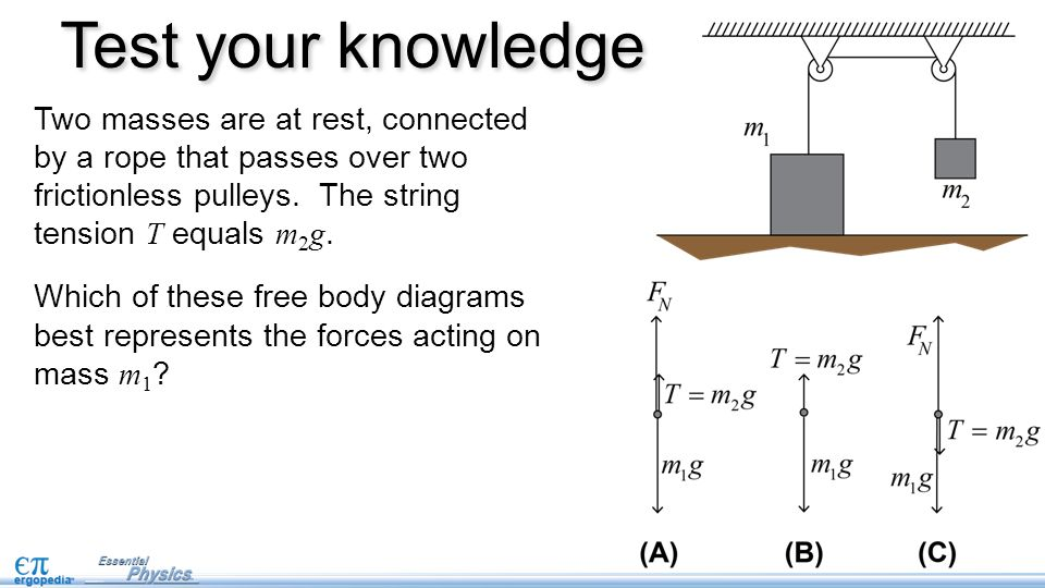 Free body diagrams pg 15 in nb ppt video online download test your knowledge two masses are at rest connected by a rope that passes over ccuart Choice Image