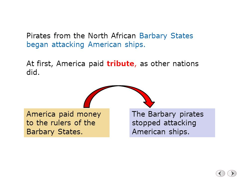 Pirates from the North African Barbary States began attacking American ships.