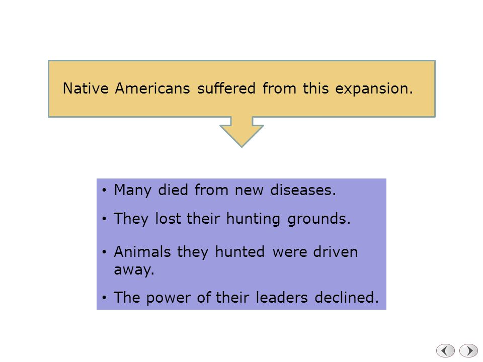 Native Americans suffered from this expansion.