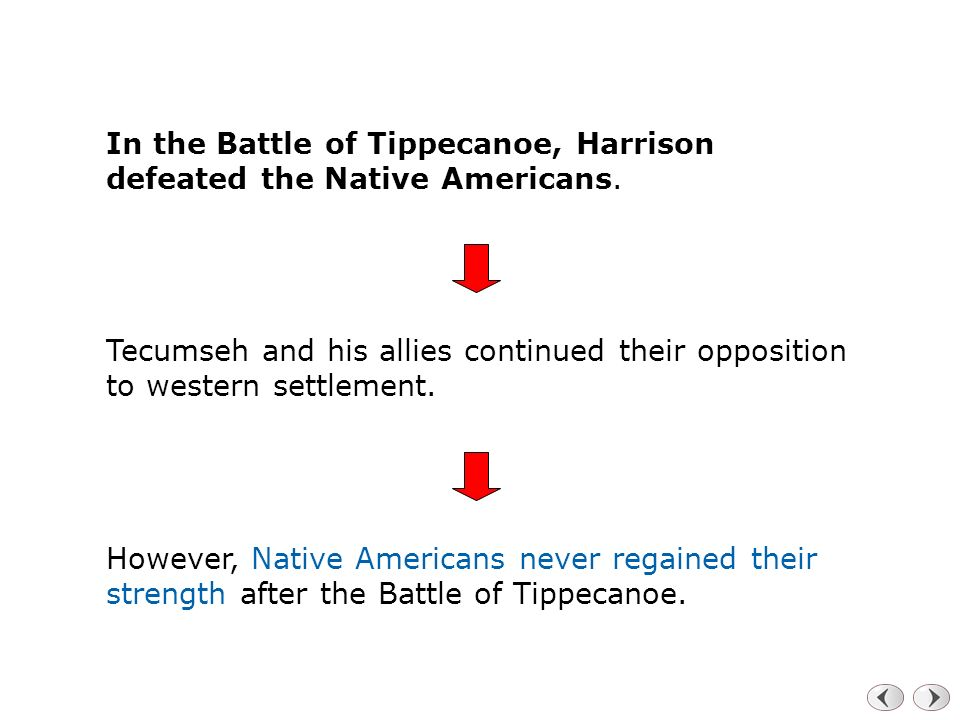 In the Battle of Tippecanoe, Harrison defeated the Native Americans.