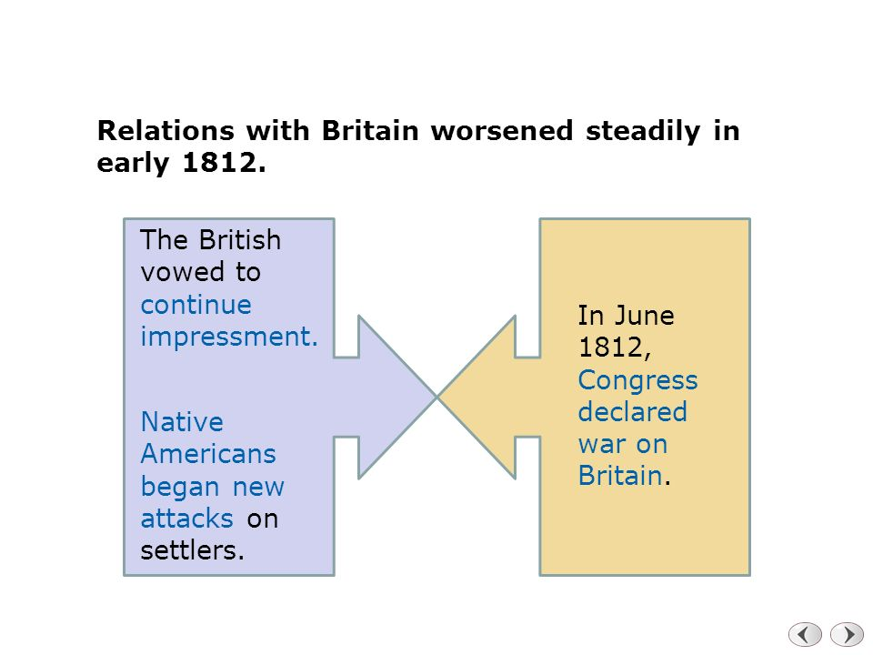 Relations with Britain worsened steadily in early 1812.