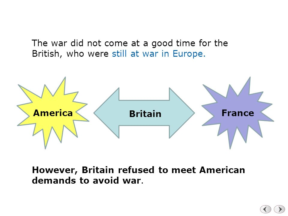 The war did not come at a good time for the British, who were still at war in Europe.