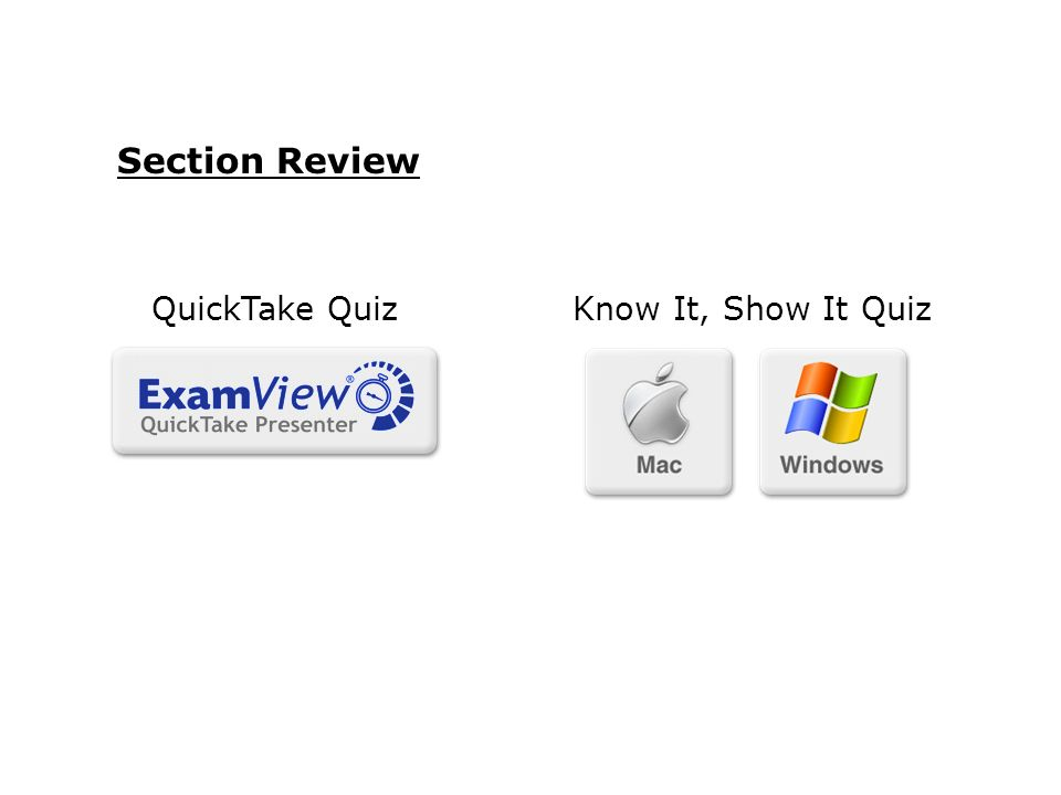 Section Review QuickTake Quiz Know It, Show It Quiz 65