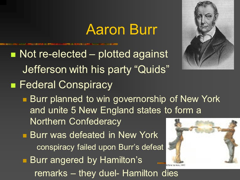 Aaron Burr Not re-elected – plotted against